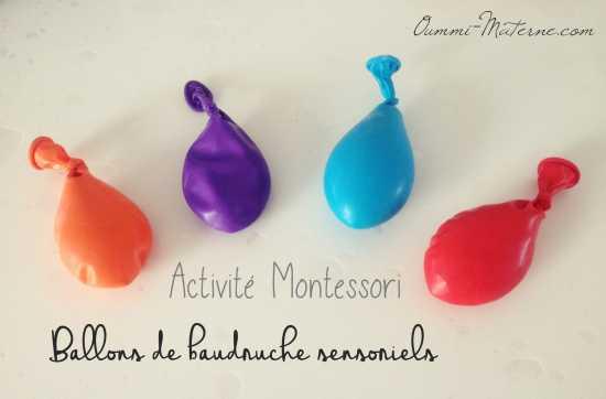 Activité Montessori : ballons de baudruche sensoriels