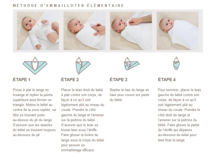 """L'emmaillotage bébé : la technique ! Voici la technique, pas à pas : Positionner le lange en losange et replier la pointe du haut. Poser le bébé sur le lange, ses épaules au niveau de la pliure. Prendre la pointe droite du lange et la faire passer entre le bras opposé et le buste, puis la coincer sous le dos du bébé (veiller à ce que le lange ne fasse pas de pli inconfortable). Remonter la pointe inférieure du lange (en veillant à ce que le bébé puisse étendre et bouger ses jambes sans entrave) et la coincer au niveau de la poitrine du bébé. Avec la dernière pointe du lange, recouvrir le corps du bébé et coincer le tissus sous son dos pour le maintenir. On peut apparemment mettre les bras de bébé le long de son corps ou repliés pour qu'il ait les mains près de son visage. Personnellement, je n'ai testé que la première option."""" Tout ceci n'est que l'expérience d'une seule famille, bien sûr. Certains parents auront vécu l'emmaillotage de façon très différente sans doute… D'ailleurs, vous, l'avez-vous testé ? Qu'en avez-vous pensé ? Racontez-nous !"""