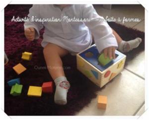 Activité d'inspiration Montessori : ma boîte à formes