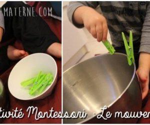 Activité Montessori : Le mouvement de pince