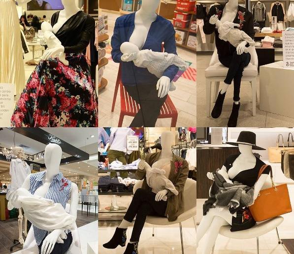 Des mannequins allaitants installés dans un centre commercial pour promouvoir l'allaitement en public
