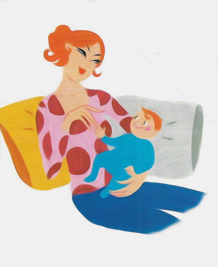 Dessin Femme Qui Porte Son Bébé Sur Le Dos
